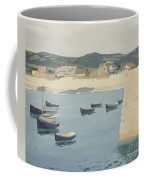 Boy Reading On A Harbour's Edge  Coffee Mug