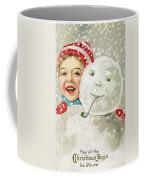 Boy With A Snowman Coffee Mug