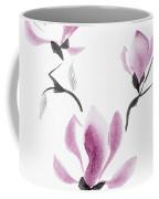 Branch Of Blooming Purple Magnolia Flowers Japanese Zen Sumi-e P Coffee Mug