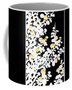 Branches Of White Yellow Leaves And Flowers At Night, Black Background Coffee Mug
