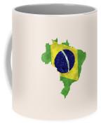 Brazil Map Art With Flag Design Coffee Mug