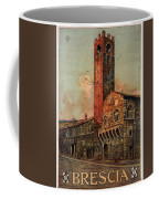 Brescia, Italy - Birds Flying Around Tower - Retro Travel Poster - Vintage Poster Coffee Mug