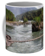 Bridge Across Mountain River Coffee Mug