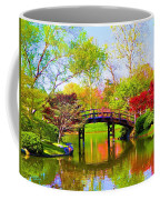 Bridge With Red Bushes In Spring Coffee Mug
