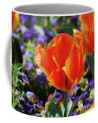 Bright And Colorful Orange And Red Tulip Flowering In A Garden Coffee Mug
