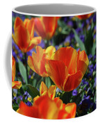 Bright Colored Garden With Striped Tulips In Bloom Coffee Mug