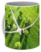 Bright Green Spring Meadow Aerial Photo Coffee Mug