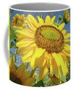 Bright Sunny Happy Yellow Sunflower 10 Sun Flowers Art Prints Baslee Troutman Coffee Mug