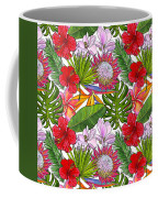 Brightly Colored Tropical Flowers And Ferns  Coffee Mug