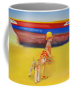 Brightly Painted Wooden Boats With Terrier And Friend Coffee Mug