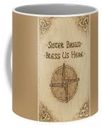 Brigid's Cross Blessing Woodburned Plaque Coffee Mug