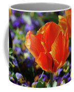 Brilliant Bright Orange And Red Flowering Tulips In A Garden Coffee Mug