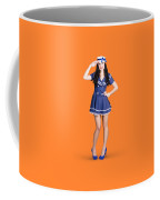 British Navy Blue Pin Up Girl Saluting Coffee Mug