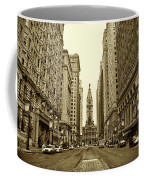 Broad Street Facing Philadelphia City Hall In Sepia Coffee Mug