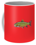 Brook Trout On Red Leather Coffee Mug
