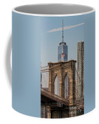 Brooklyn Bridge And One World Trade Center In New York City  Coffee Mug