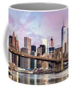 Brooklyn Bridge And Skyline At Sunrise, New York, Usa Coffee Mug