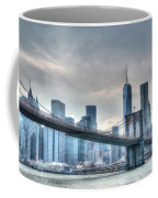 Brooklyn Bridge And The Lower Manhattan Financial District Coffee Mug
