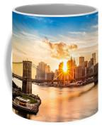 Brooklyn Bridge And The Lower Manhattan Skyline At Sunset Coffee Mug