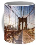 Brooklyn Bridge At Sunset, New York, Usa Coffee Mug