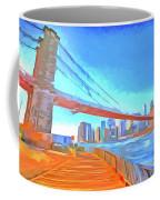 Brooklyn Bridge New York Pop Art Coffee Mug