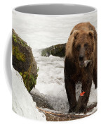 Brown Bear Eating Salmon Tail Beside Rocks Coffee Mug