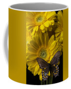 Brown Butterfly On Yellow Daisies  Coffee Mug