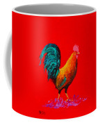 Brown Rooster On Red Background Coffee Mug