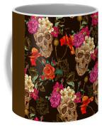 Brown Skulls And Flowers Coffee Mug