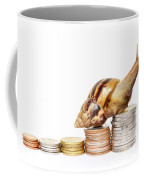 Brown Snail Climbing To The Top Of The Pile Of Coins  Coffee Mug