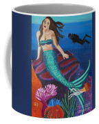 Brunette Mermaid With Turquoise Tail Coffee Mug