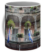 Bubbles Blow From An Ornate Balcony In New Orleans At Mardi Gras Coffee Mug