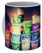 Buckets Of Liquid Paint Standing In A Workshop. Coffee Mug