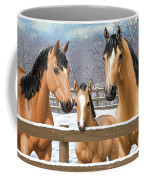 Buckskin Quarter Horses In Snow Coffee Mug by Crista Forest