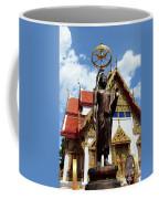 Buddha Statue With Sunshade Outside Temple Hat Yai Thailand Coffee Mug