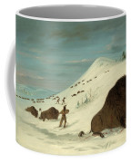 Buffalo Lancing In The Snow Drifts. Sioux Coffee Mug