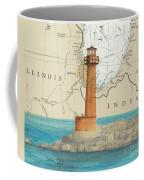 Buffington Harbor Lighthouse In Nautical Chart Map Coffee Mug