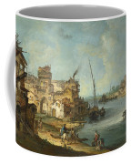 Buildings And Figures Near A River With Shipping Coffee Mug