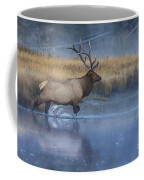Bull Elk Crossing The Madison River Coffee Mug