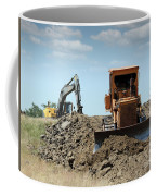 Bulldozer And Excavator On Road Construction Coffee Mug