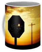 Bullet-riddled Stop Sign Coffee Mug