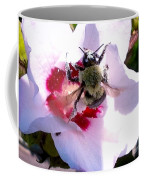 Bumble Bee Making His Escape From Hibiscus Flower Coffee Mug