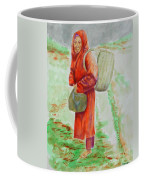 Bundled And Barefoot -- Portrait Of Old Asian Woman Outdoors Coffee Mug