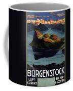 Burgenstock - Lake Lucerne - Switzerland - Retro Poster - Vintage Travel Advertising Poster Coffee Mug