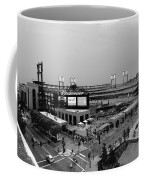 Busch Stadium From The East Garage Black And White Coffee Mug