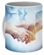 Business Handshake Over Modern Skyscrapers, Double Exposure. Coffee Mug