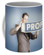 Business Man Holding Financial Profit Street Sign Coffee Mug