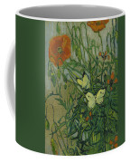 Butterflies And Poppies, 1890.  Coffee Mug