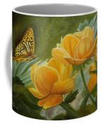 Butterfly Among Yellow Flowers Coffee Mug