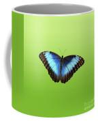 Butterfly Blue Morpho On Green Coffee Mug